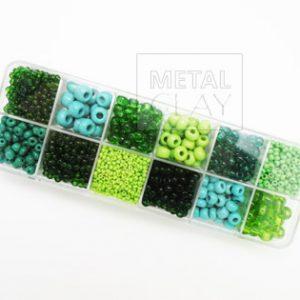 Zestaw koralików zielonych
