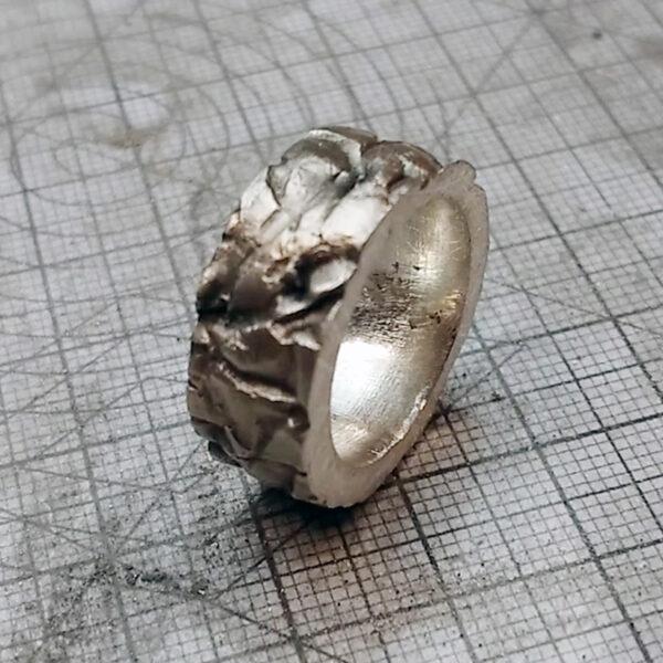 Metal clay nauka online gotowy pierścionek z fakturą