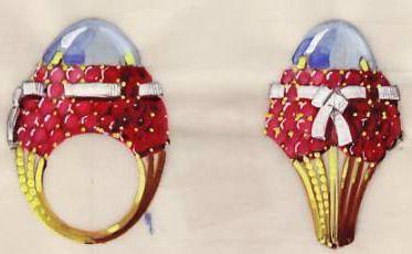 Biżuteria vintage - projekt pierścienia koktajlowego Marchak