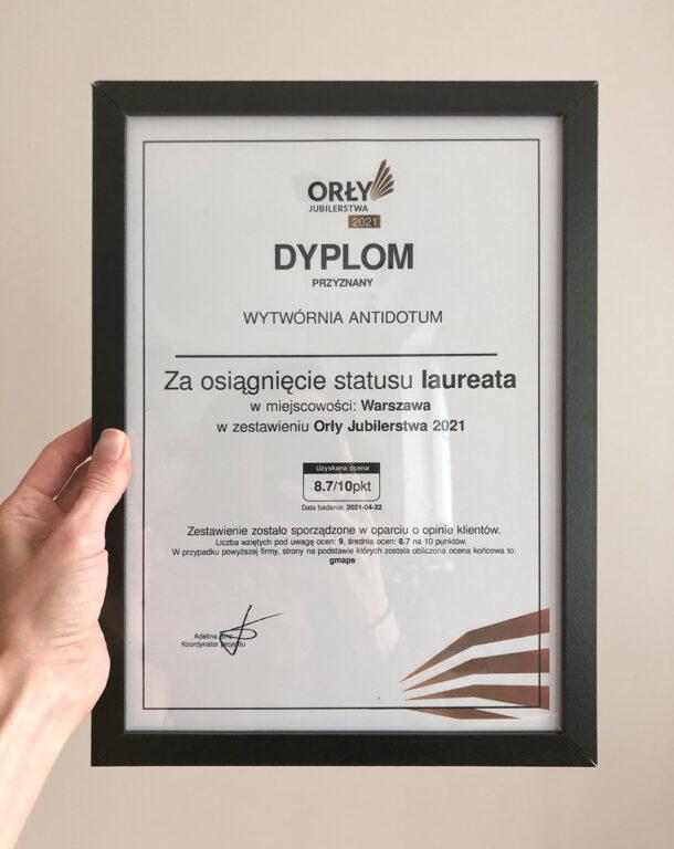 Wytwórnia Antidotum otrzymała dyplom Orły Jubilerstwa 2021